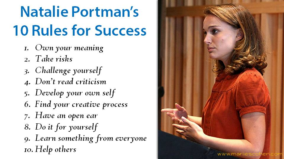 Natalie Portman's 10 rules for success
